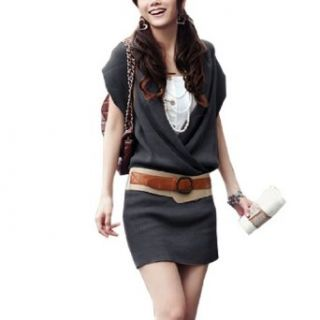 Allegra K Black Knitting Cross V Neck Stretchy Tunic Dress