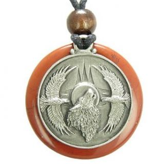 Amulet Howling Wolf Eagles Magic Medallion Circle Red