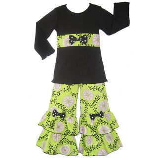 Ann Loren Girls Flowering Vines Top and Ruffled Pant Set