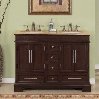 Silkroad Exclusive Travertine Top 48 inch Double sink Vanity Cabinet