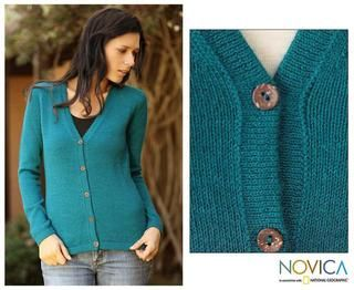 Womens Alpaca Wool Turquoise Sea Cardigan Sweater (Peru