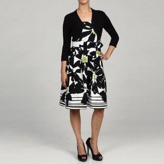 Jessica Howard Womens Petite 2 piece Black Pleated Belted Dress FINAL