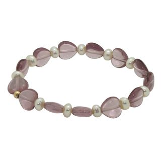 Junior Jewels 14k Gold FW Pearl and Purple Crystal Baby Bracelet (6 mm