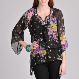Sunny Leigh Womens Black Floral Embellished Blouse
