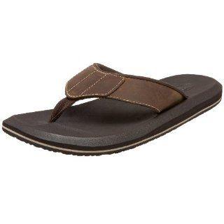 Sanuk Mens Leather Lazy Boy II Sandal,Brown,7 M US Shoes