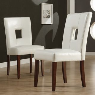 ETHAN HOME Alsace White Faux Leather Side Chairs (Set of 2