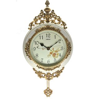 Fabulous Antique Linseng Wooden Pendulum Ivory Wall Clock ( 24x15