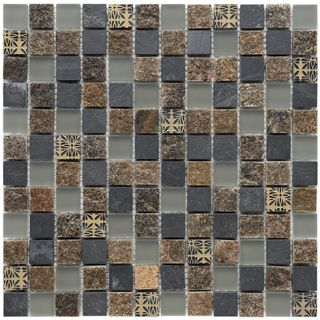 Somertile Granstone Fauna 1 inch Rosa Stone and Glass Mosaic Tiles