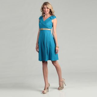 Tahari Womens Turquoise Belted Pleated Skirt Dress