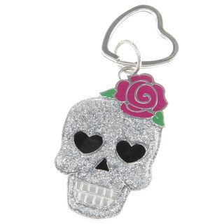 Betsey Johnson Glitter Silver Skull Key Chain