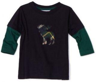 Hartstrings Baby Boys Infant Moose Twofer Tee Shirt, Navy