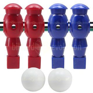 4 Red and Blue Robotic Foosball Men and 2 Smooth Balls