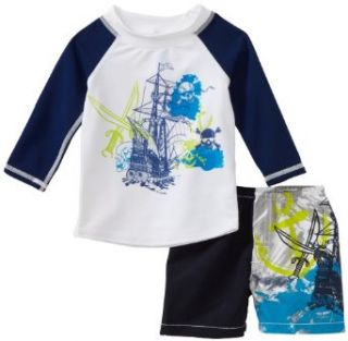 Charlie Rocket Baby boys Infant Rash Guard with Ship and