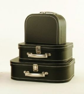 SET OF 3 Black Paperboard Suitcase Decor Boxes with Clasp