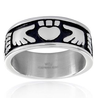 Stainless Steel Claddagh Black Enamel Ring