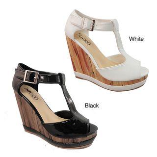 Bucco Womens Season White Wedge Sandals