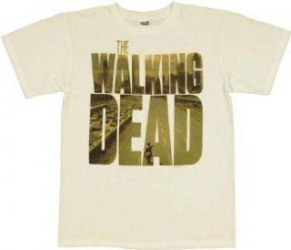 Walking Dead Zombie Poster Logo T Shirt (Medium) Clothing