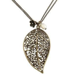 Kate Bissett Bronzetone Faux Pearl Leaf Necklace
