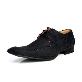 Bravo Fashion Lace Up Mens Dress Shoes Navy Blue Suede Shoes