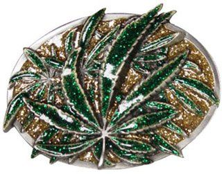 Mens Resin Green and Gold Marijuana Leaf Metal Belt Buckle