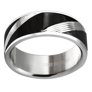 Black plated Stainless Steel Mens Striped Wedding style Band