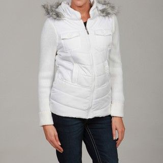 Dollhouse Womens White Faux Fur Hooded Jacket