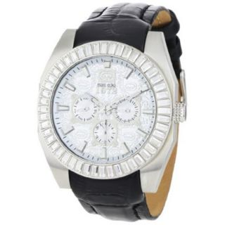 Marc Ecko Mens Black Leather Strap Silver Dial Watch Today $154.99