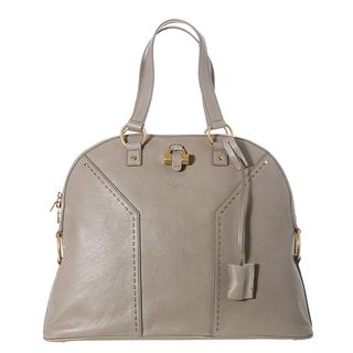 Yves Saint Laurent Muse Light Grey Textured Leather Tote Bag