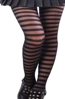 Runway Goth Black Tights/pantyhose Opaque+sheer Striped