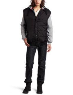 Burnside Young Mens Typo Vest With Fleece Sleeves, Black