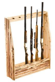 Rush Creek Log Cabin Style Gun Rack with Storage Sports