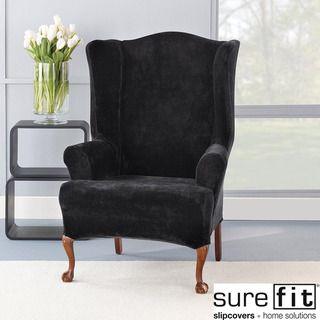 Stretch Plush Black Wing Chair Slipcover