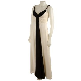 Donna Ricco Collection Ivory and Black Colorblocked Silk Gown