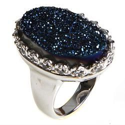 Adee Waiss Silvertone Blue Druzy Oval Ring