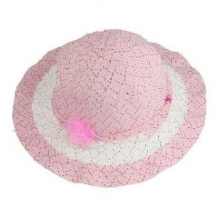 Allegra K Pink Flower Beads Gold Tone Thread Decor Fedora