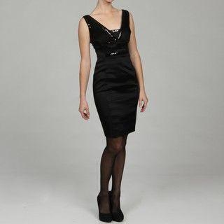 Jax Womens Black Sequin Detail Evening Dress