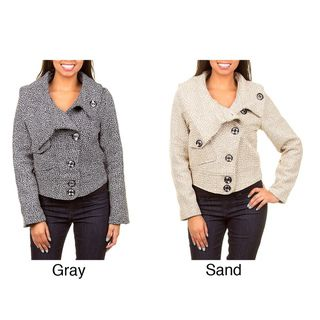 Stanzino Womens Tweed Dimensional Coat