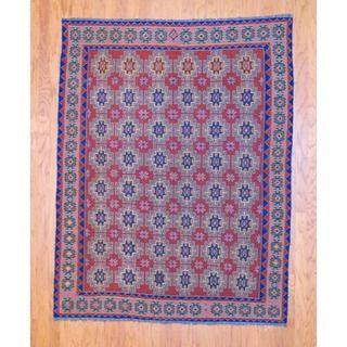 Afghan Hand knotted Tribal Soumak Burgundy/ Navy Kilim Wool Rug (53 x