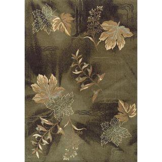 Alexa Abbey Modern Green Leaf Pattern Floral Rug (82 x 115
