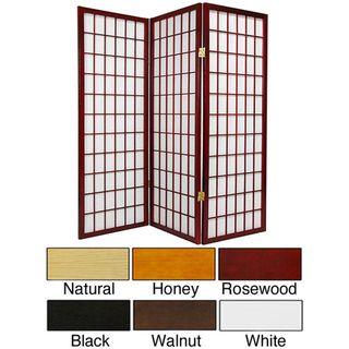 Wood and Rice Paper 4 foot 3 panel Shoji Windowpane Screen (China