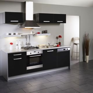 BOX Cuisine L 245 cm Noire façade lave vaisselle   Achat / Vente
