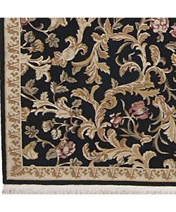 Hand knotted Legacy Floral Black Wool Rug (86 x 116)