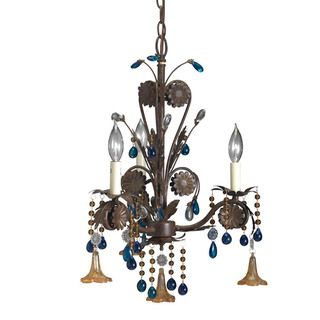 Transitional 3 light Bronze Mini Chandelier with Amber and Topaz Drops