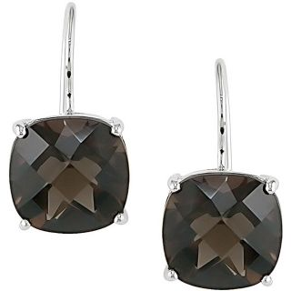10k White Gold Square Smokey Quartz Earrings
