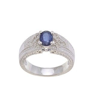 Viducci Sterling Silver Blue Sapphire and 1/4ct TDW Diamond Ring (G H