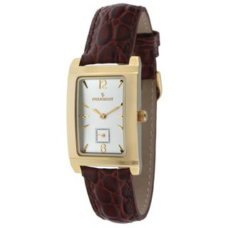 Peugeot Mens Goldtone Brown Leather Strap Watch