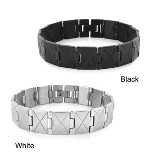 West Coast Jewelry Stainless Steel X Design Link Mens Bracelet