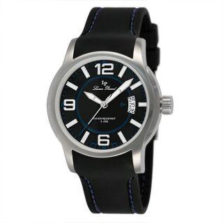 Lucien Piccard Mens Black Strap Blue Stitch Watch
