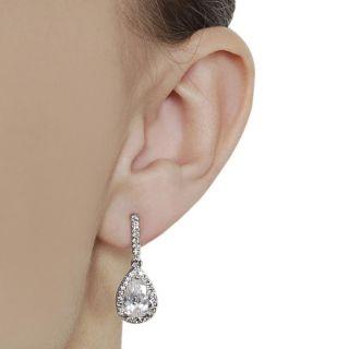 Silvertone Pave set Pear cut Cubic Zirconia Dangle Earrings