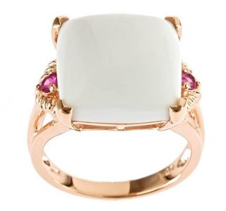 Yach Gold over Silver White Agate and Pink Sapphire Ring
